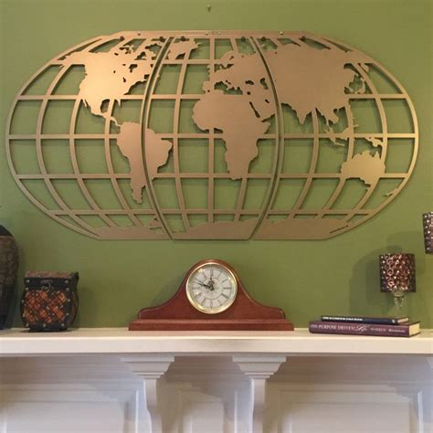 World Wall Decor by World Map Atlas Globe Metal Wall