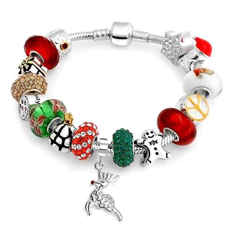 Sterling Christmas Bead Snake Chain Bracelet Pandora Compatible
