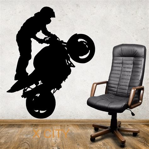 Our City Am 9030 Stiker Dinding Wall Sticker 1 superbike wheelie motorbike stunt silhouette creative wall