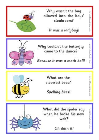 printable sheet of jokes free printable cute bug joke bookmarks scrapbooking