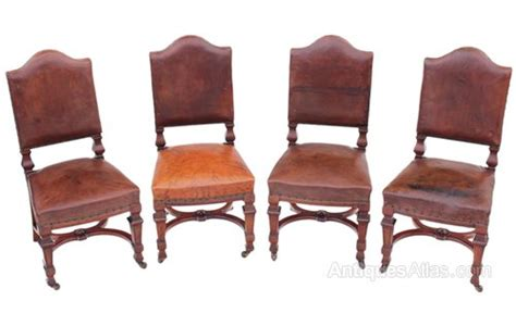 Next Leather Dining Chairs Set Of 4 Walnut Leather Dining Chairs Antiques Atlas