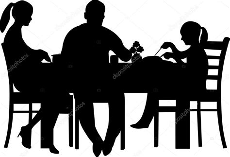 dinner silhouette family having their dinner at the table silhouette stock