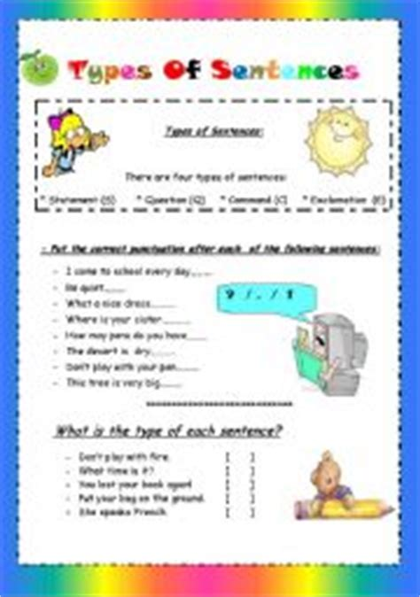 exle of command sentences worksheet types of sentences statement question command exclamation