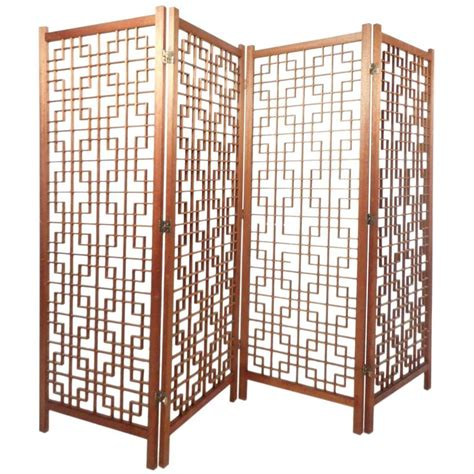 Lattice Room Divider Mid Century Modern Teak Four Panel Lattice Folding Wall Divider For Sale At 1stdibs