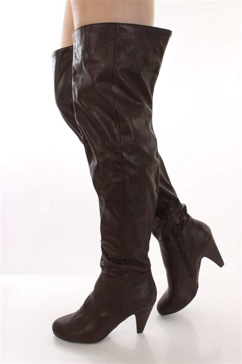 brown faux leather thigh high heel boots