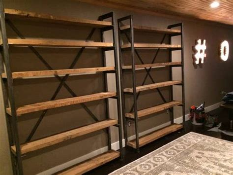 custom shelving ideas custom made metal and wood bookshelves cool kitchens