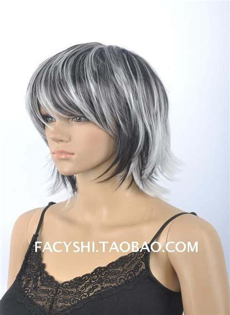 putting silver on brown hair fs 2015 new fashion short straight wigs black and white