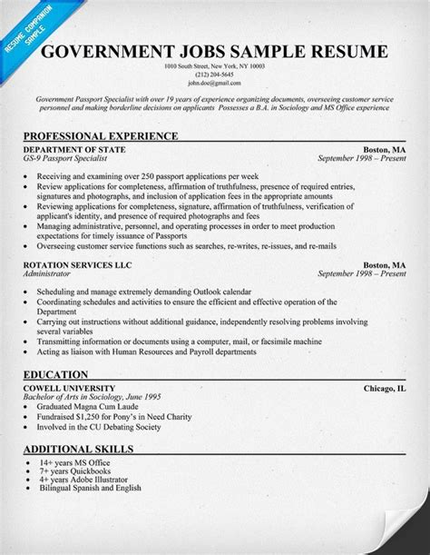 Sample Resume For Government Jobs   Best Resume Example