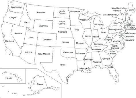 United States Map Black And White Printable