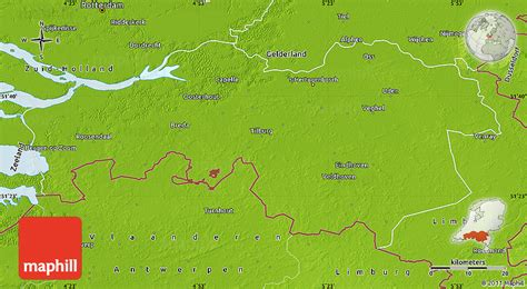 brabant netherlands map physical map of noord brabant
