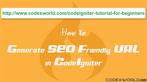 codeigniter tutorial for beginners codexworld how to generate seo friendly url in codeigniter codexworld
