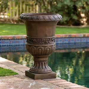 planter pot 18 quot antique decor aged brown stone outdoor garden urn
