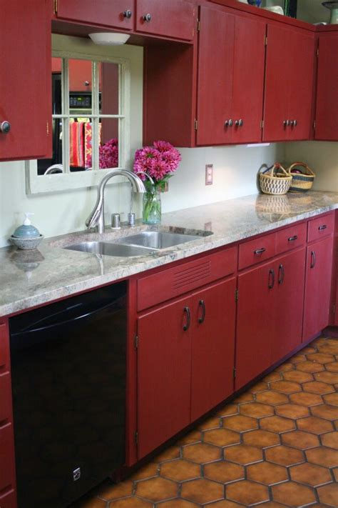 Red Painted Kitchen Cabinets by Kitchen Dark Wood Flooring And Beadboard Backsplash Idea