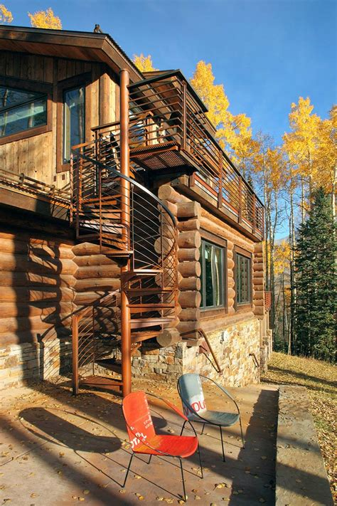 Cabins In Telluride by Outdoor Spiral Stairs Modern Log Cabin In Telluride Colorado