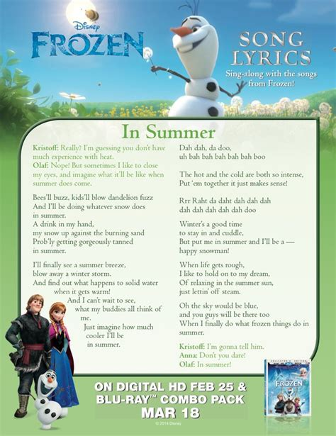printable disney lyrics sing olaf s quot in summer quot with this lyric sheet frozen