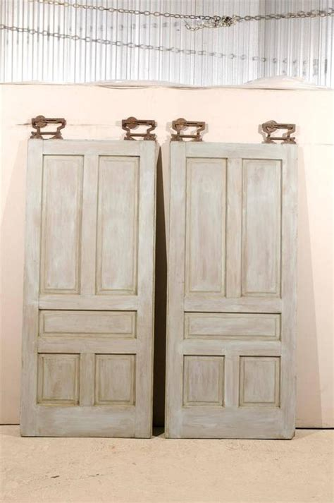 Pocket Doors For Sale by Pair Of Early 20th Century Painted Wood Pocket Doors For