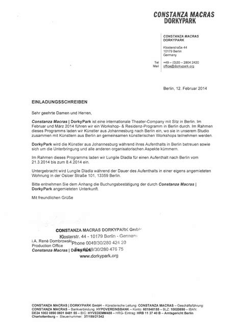 cover letter in german language invitation letter for visa application