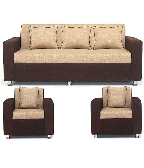 free sofa set bls tulip brown cream 3 1 1 seater sofa set buy bls