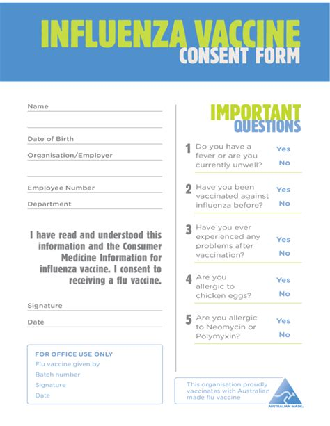 Flu Template influenza vaccine consent form free