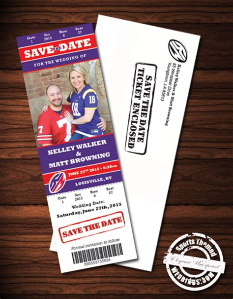 wedding invitations with matching save the date magnets sports themed weddings custom designed deluxe wedding invitation exles