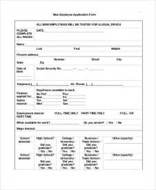sample employee application form 7 documents in word pdf