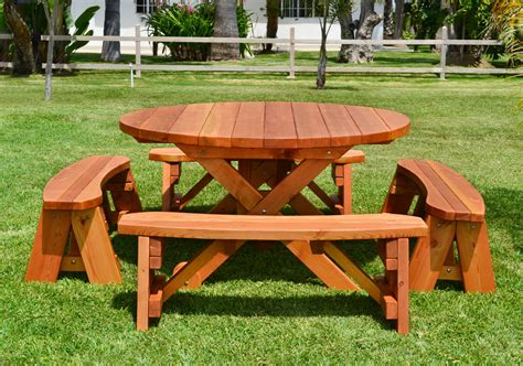 round picnic bench round wood picnic table with wheels forever redwood