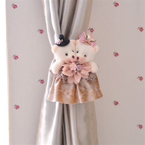 curtain clip backs two cartoon bear marraied clip curtain tie backs