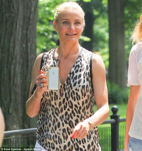 Get The Look Cameron Diazs Leopard Print Wedges by Cameron Diaz Dons Leopard Print For Another Day Of Filming