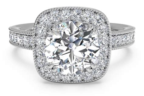 cushion cut vintage style engagement rings vintage style cushion cut halo engagement ring and