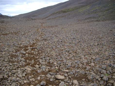 stock photo  path  rocky iceland terrain