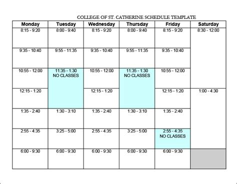 college schedule templates 12 free word excel pdf