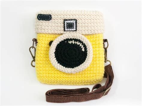 crochet camera bag pattern crochet lomo camera purse pastel yellow color