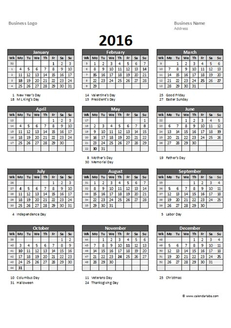 Calendar Printable 2016 Excel 2016 Excel Yearly Calendar 05 Free Printable Templates