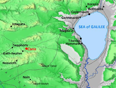 Wedding At Cana Galilee by Map Of Galilee In Jesus Day Showing Location Of