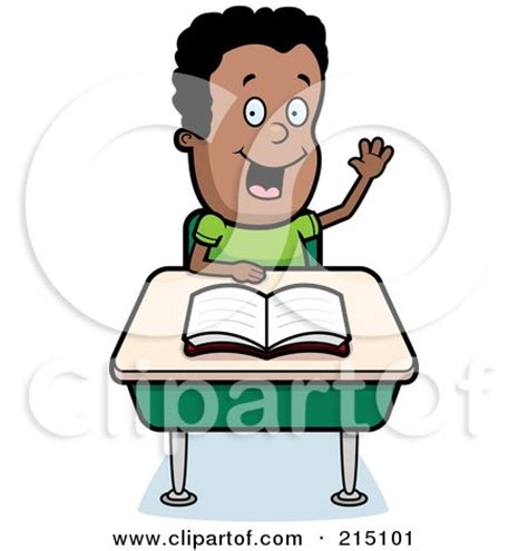 Small Desk Flags Smart Black Boy Sitting At A Desk With His Hand Raised