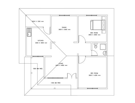 A 1 Story House 2 Bed Room Desien by Two Bedroom Single Story House Plan Dwg Net Cad Blocks