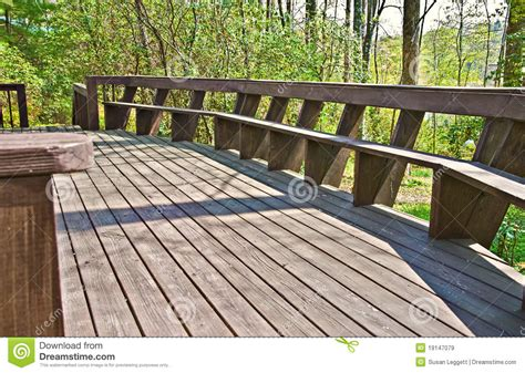 Deck Benches With Backs Wood Deck Design With Bench Royalty Free Stock Images