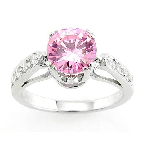sterling silver ring with pink cubic zirconia jewelry farm