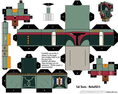 Boba Fett Papercraft - boba fett template cubeecraft by neibaf63 on deviantart
