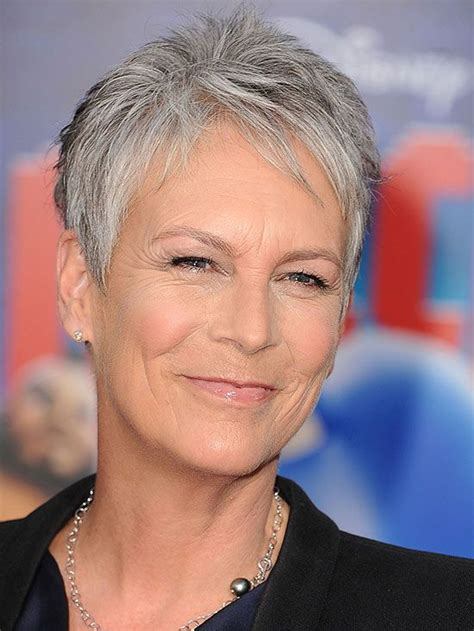 jamie lee curtis with silver hair classy and very short haircut your guide to gray hair coloring jo o meara and grow out