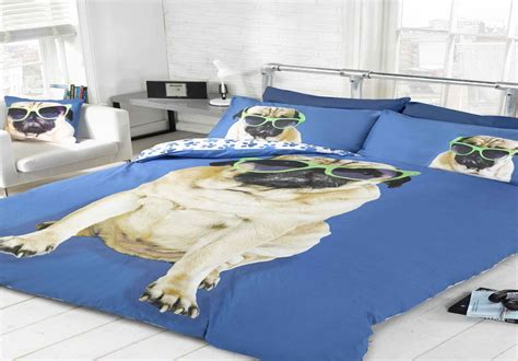 pug bed covers novelty pug duvet cover sets or cushion cover bedding sets blue 3 sizes ebay