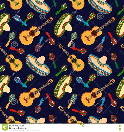 free mexican pattern background mexican hand drawn seamless pattern stock vector image