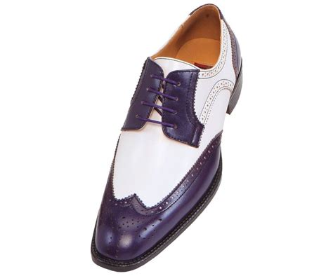 bolano s perforated purple white lace up wing