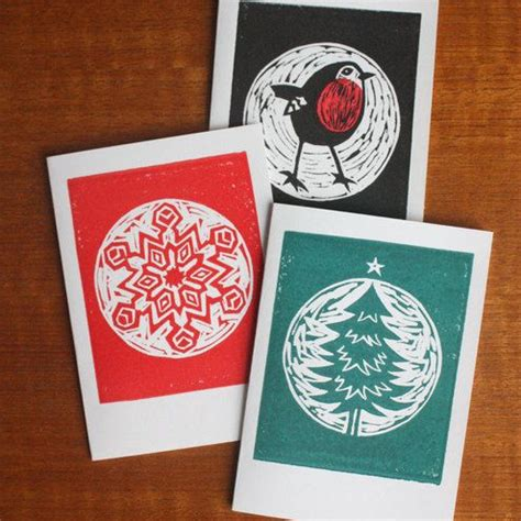Lino Cut Cards card pack of 3 linocut