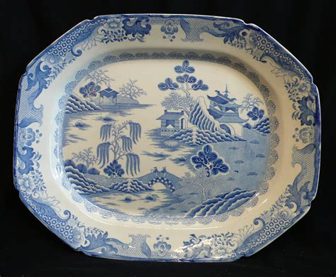 willow pattern en francais a large ironstone meat dish two man willow pattern by
