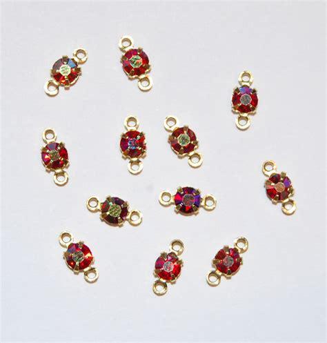 rhinestone beading vintage rhinestone connector bead doll jewelry ruby ab