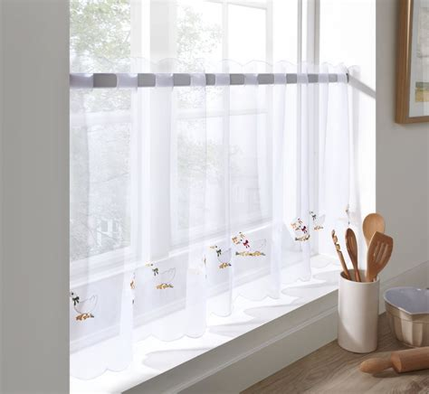 Kitchen Sheer Curtains Sheer Voile Cafe Panel Kitchen Bathroom Ready Made Tier Valance Curtain Ebay