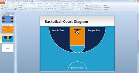 download layout bb free basketball court powerpoint template