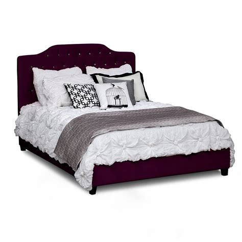 velvet bedroom furniture qn velvet bed valerie purple american signature furniture
