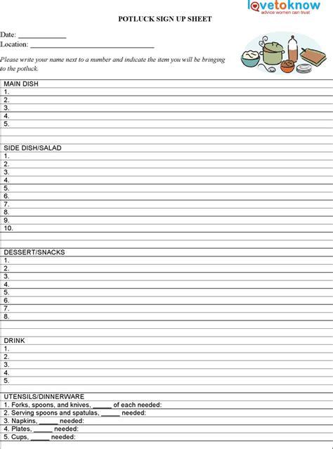Potluck sign up sheet free potluck sign up sheet pdf 1 page s